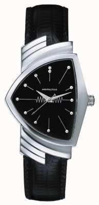 Hamilton Quadrante nero con cinturino in pelle nera al quarzo Ventura H24411732