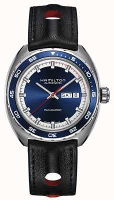 Hamilton Mens pan europ cinturino in pelle nera quadrante blu H35405741