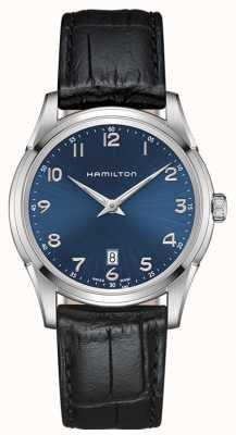 Hamilton quadrante blu cinturino in pelle nera Mens Jazzmaster thinline H38511743