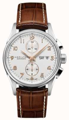Hamilton bianco cronografo cinturino in pelle quadrante Mens Jazzmaster Maestro H32576515