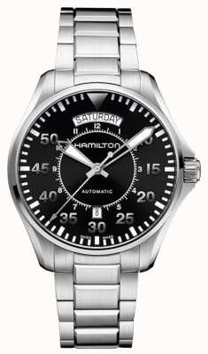 Hamilton quadrante nero cinturino in acciaio inox Mens cachi pilota H64615135