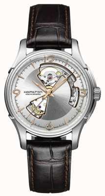 Hamilton Jazzmaster Mens cuore aperto quadrante argento cinturino in pelle marrone H32565555