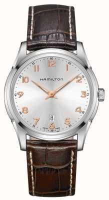 Hamilton in pelle marrone quadrante argentato cinturino Mens Jazzmaster thinline H38511513