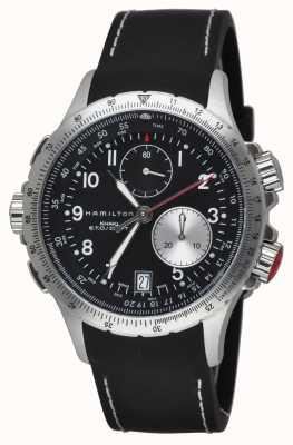 Hamilton cinturino in caucciù nero Mens cachi eto cronografo flyback H77612333