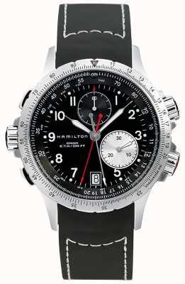 Hamilton Cinturino in gomma nera cronografo flyback eto kaki da uomo H77612333