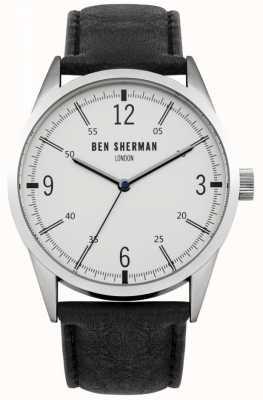 Ben Sherman Mens quadrante bianco cinturino in pelle nera WB051B