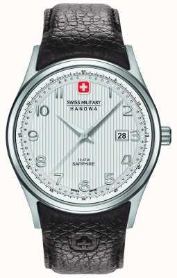 Swiss Military Hanowa in pelle marrone quadrante argentato cinturino Mens Navalus 6-4286.04.001