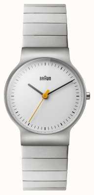 Braun Quadrante bianco del braccialetto dell'acciaio inossidabile delle donne BN0211SLBTL