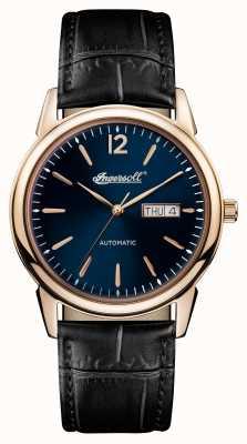Ingersoll Uomo 1892 il nuovo orologio cinturino in pelle nera blu quadrante I00504