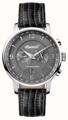 Ingersoll Mens 1892 il quadrante grigio della cinghia di cuoio nera del grafton I00601