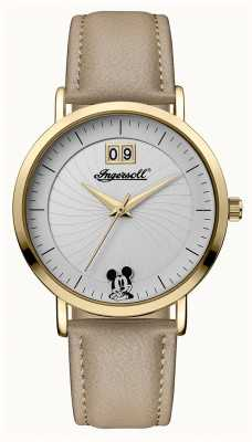 Disney By Ingersoll Womens union il quadrante argentato in pelle beige disney ID00503