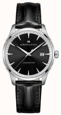 Hamilton Jazzmaster Mens cinturino in pelle nera quadrante nero H32451731