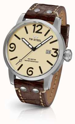 TW Steel Mens cream sandwich Maverick quadrante cinturino in pelle marrone 45 millimetri MS21