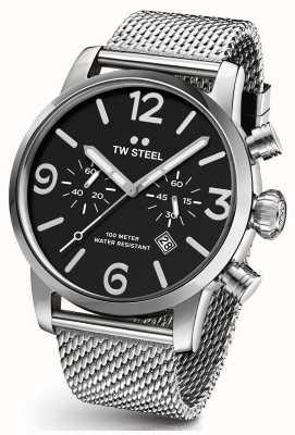 TW Steel Mens Maverick cronografo cinturino nero in maglia di acciaio quadrante 48 millimetri MB14