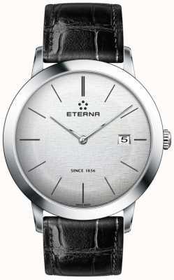 Eterna argento quarzo Mens spazzolato quadrante cinturino in pelle nera 2710.41.10.1383