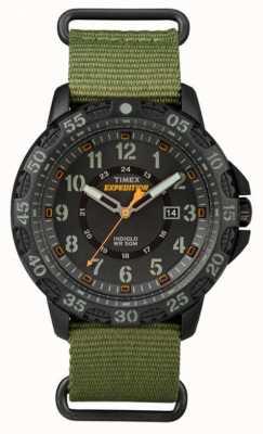 Timex Gallatin Mens cinturino in tessuto verde quadrante nero TW4B03600