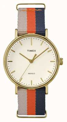 Timex Unisex weekender Fairfax arancione cinturino marrone TW2P91600