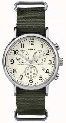 Timex quadrante crema del cronografo weekender Unisex TW2P71400