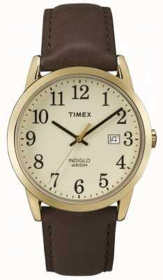 Timex Cinturino in pelle da uomo con quadrante color crema facile da leggere TW2P75800