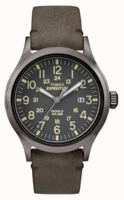 Timex Mens esploratore quadrante nero cinturino in pelle grigio TW4B01700