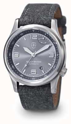 Elliot Brown Mens tyneham grigio cinturino quadrante grigio display posteriore 305-D02-F01