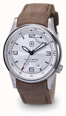 Elliot Brown Mens Tyneham argento pelle marrone quadrante schermo fondello 305-D03-L12