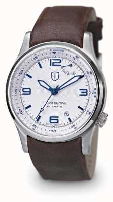 Elliot Brown quadrante bianco cinturino in pelle marrone Mens Tyneham 305-004-L14