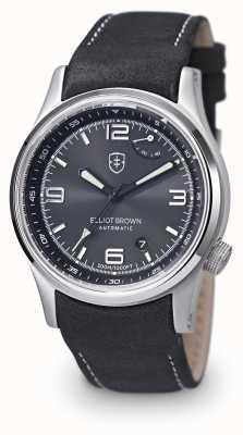 Elliot Brown cinturino in pelle nera quadrante nero Mens Tyneham 305-005-L15