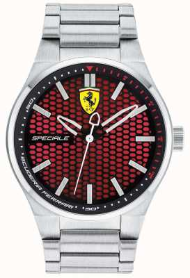 Scuderia Ferrari Mens speciale braccialetto quadrante rosso in acciaio inox 0830357