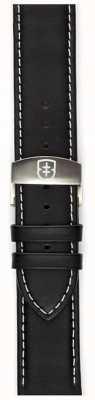 Elliot Brown Mens 22mm cinghia dispiegatrice di cuoio nero lubrificato solo STR-L02
