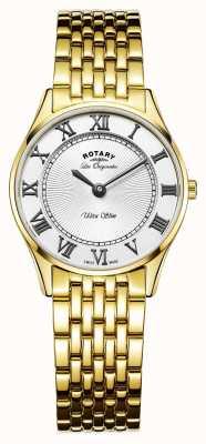 Rotary Womens les originales ultra sottile quadrante bianco LB90803/01