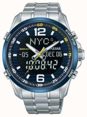 Pulsar Mens acceleratore wrc doppio fuso orario cronografo dell'allarme di tempo del mondo PZ4003X1