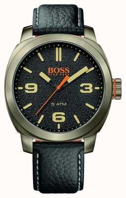 Hugo Boss Orange cinturino in pelle nera cittadina caso tono oro quadrante nero Mens cape 1513409
