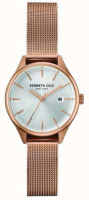Kenneth Cole Quadrante argentato in acciaio inox a maglia oro rosa KC10030842