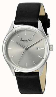 Kenneth Cole Quadrante argentato in pelle nera KC10025930