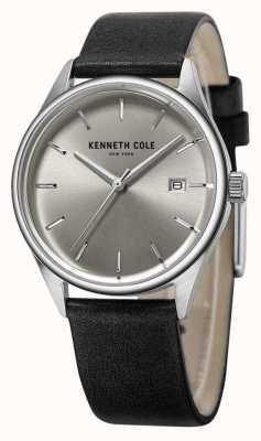 Kenneth Cole Quadrante argentato in pelle nera KC10025930