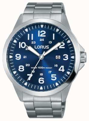 Lorus Mens bracciale in acciaio quadrante blu RH925GX9