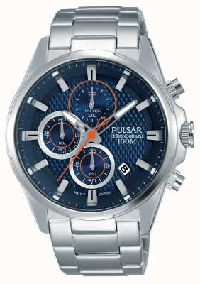 Pulsar Cronografo Mens quadrante blu in acciaio inox PM3059X1