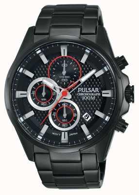 Pulsar Cronografo Mens bracciale in acciaio nero quadrante nero PM3065X1