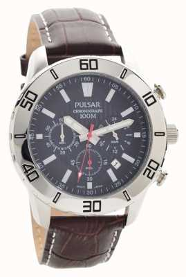 Pulsar Cronografo Mens cinturino in pelle marrone quadrante nero PT3815X1