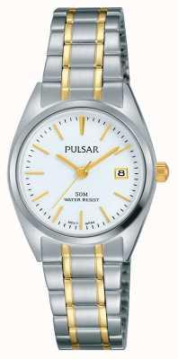 Pulsar Womens due toni quadrante bianco in acciaio inox PH7441X1