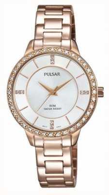 Pulsar Womens rosa quadrante argentato in acciaio inox tono oro PH8220X1