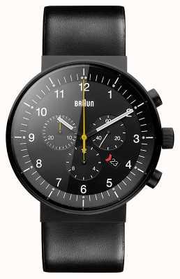 Braun Cinghia in pelle nera cronografo di prestigio maschile quadrante nero BN0095BKG