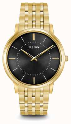 Bulova Mens tono oro ultra sottile quadrante nero in acciaio inox 97A127