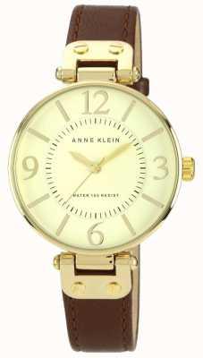 Anne Klein Quadrante in oro cinturino in pelle marrone donna 10/N9168IVBN