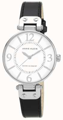 Anne Klein Quadrante bianco cinturino in pelle nera 10/N9169WTBK