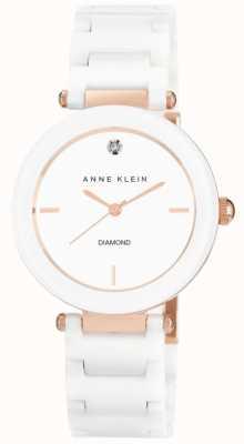 Anne Klein Quadrante bianco cinturino in ceramica bianca AK/N1018RGWT