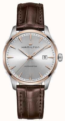 Hamilton pelle marrone quadrante argentato cinturino Mens Jazzmaster H32441551