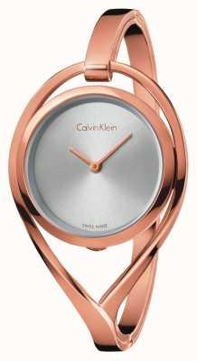 Calvin Klein Quadrante argentato da donna in oro rosa chiaro medio K6L2M616