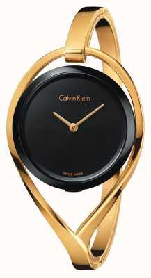 Calvin Klein Il quadrante nero del braccialetto del tono di oro piccolo della luce delle donne K6L2S411